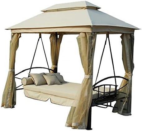 Mega Carpa con columpio y cama reclinable de hierro y tela de exterior | Atlante: Amazon.es: Jardín
