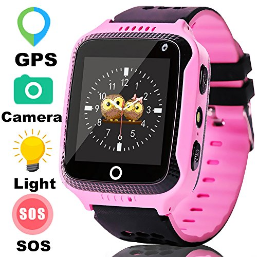 Kids GPS Tracker,Smart Watches Phone for Boys Girls with Touch SOS Camera Pedometer Children Smartwatch Fitness Tracker Birthday Gifts for Sport Summer Camping(Cool Pink)