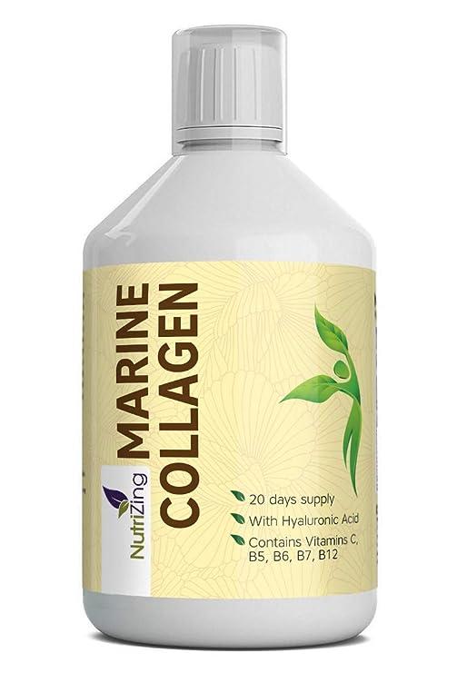 NutriZing Colágeno Marino Líquido con Ácido Hialurónico. Péptidos Hidrolizados de Proteína en Botella de 500 ml. Contiene Vitaminas C, B5, B6, B7 y B12.
