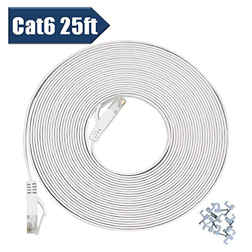 Utp Cat5 Flat Cable - Cat 6 Ethernet Cable 25 ft with Cable Clips - Flat Internet Network Cable,High Speed faster than Cat5e Cat5 Computer Lan Wire - Computer Cable With Snagless Rj45 Connectors - White