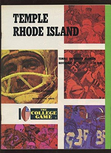 (November 11 1972 NCAA Football Program Temple vs Rhode Island)