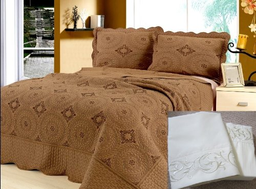 - Newport Bay Luxury 7 pcs Bed in a Bag - Embroidery Quilt Set with Sheet Set