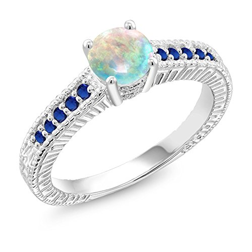 Sapphire Cabochon Ring (0.95 Ct Cabochon White Simulated Opal Blue Simulated Sapphire 925 Silver Ring (Size 7))