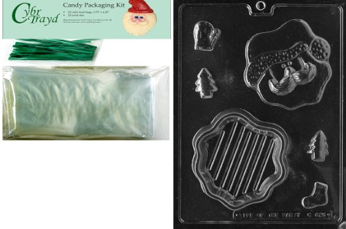 Cybrtrayd MdK25G-C425 Santa Face Pour Christmas Chocolate Mold with Packaging Kit, Includes 25 Cello Bags and 25 Green Twist Ties