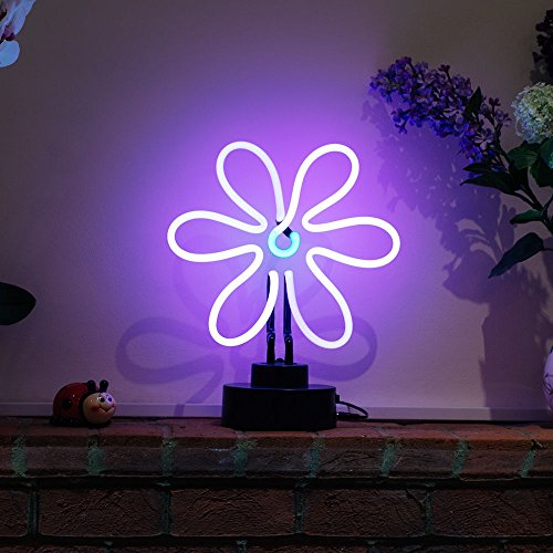 Indoor Glass tube Neon Signs with on/off switch on base A4 Size,Business Signs with Flower Sculpture (Indoor Neon Sign)