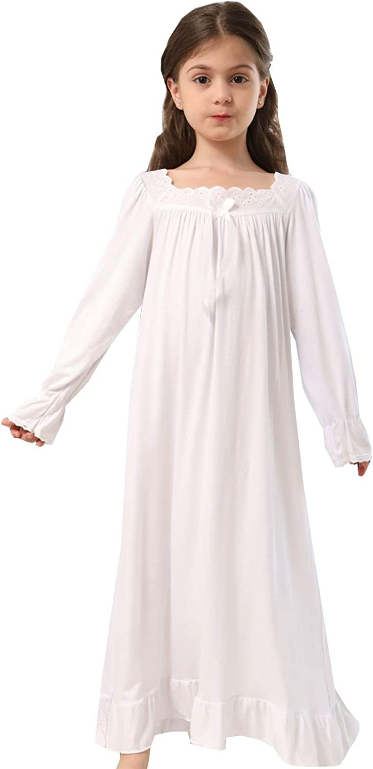 Loose Soft Stretch Mid Length Nightdress for Girls 3-10 Years Girls Nightgown