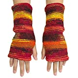 CFrost Women's Hand Knit Warm Sunrise Fingerless Arm Warmer Gloves