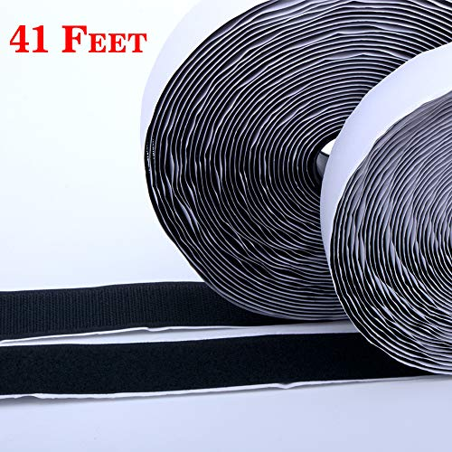 Hook and Loop Tape-Roll Self Adhesive tape Strips Sticky Back Fastener, 1In x 41Feet(1 in - - Tape Velcro Adhesive Back