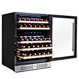 AKDY 46 Bottles Dual Zone Adjustable Touch Control Freestanding Built-in Compressor Wine Cooler Cellar