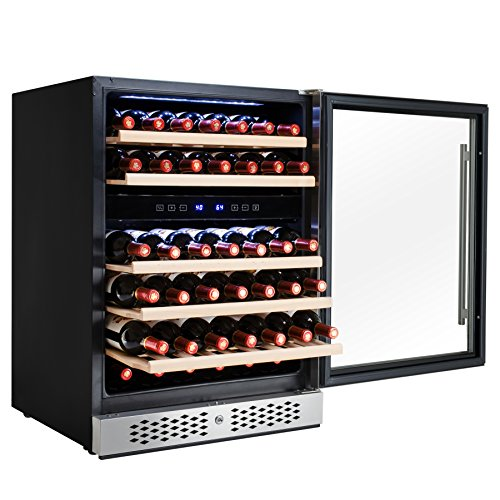 Reviews Wine Zone Cooler Dual (AKDY 46 Bottles Dual Zone Adjustable Touch Control Compressor Function Freestanding Wine Cooler Chiller)