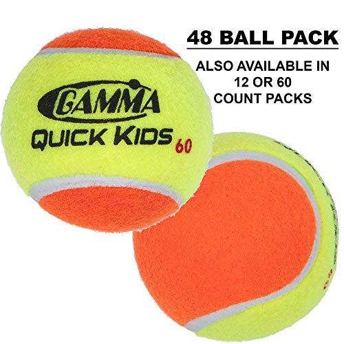 - Gamma Sports Kids Training (Transition) Balls, Yellow/Orange, Quick Kids 60, Bucket of 48