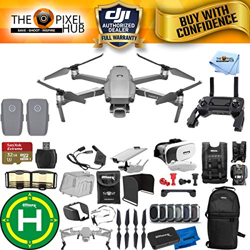 DJI Mavic 2 Pro 2 Battery MEGA Accessory Bundle with 32GB Micro SD, Sling Backpack, Filter Kit, Drone Vest, Landing Pad + Much More ()