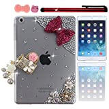 Ancerson Eye-catching Luxury Girly New 3D DIY Handmade Bling Shining Glitter Crystal Diamond Rhinestones Hard Back Case Cover Shell Skin for Apple iPad Mini 2 Mini II+ A Red Stylus Touch Pen+ A Pink Bow Bowknot Bowtie Dust Plug+ A Cute Pink Pig Dust Plug (Rose Red Bow Golden Bag Handbag with White Flower Pearls Pendant Tassel Pink Golden Silvery Flowers Transparent Clear Case)