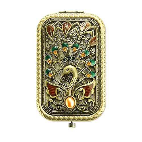 Ivenf Antique Vintage Square Compact Purse Mirror Wedding   Christmas   Birthday Gift  Peacock Spreading Tail  Bronze