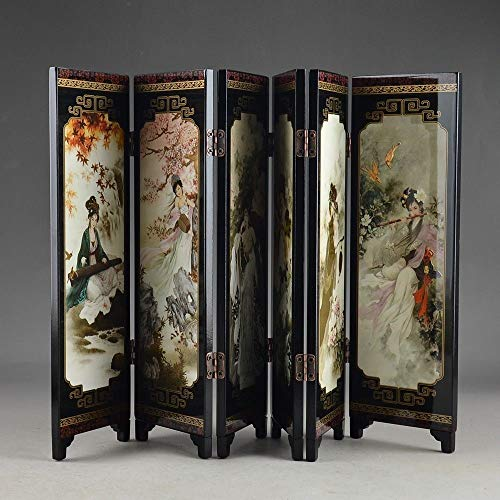 (ABYSTEPS Screens & Room Dividers - Lacquer Ware Old Hand Painting Belle Collectibles Beauty Nice Folding Screen Decoration Gift 1)