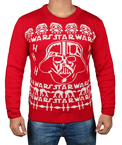 Star War Darth Vader Sweater - Mens Adult Red & White Christmas Sweater (M) ()