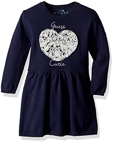 GUESS Little Girls' Chelsea Glitter Heart Sweater Dress, Fancy Blue, 4 -