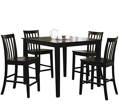 Coaster 5 Piece Dining Set With 4 Barstools Black