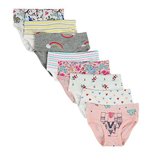 Closecret Kids Series Baby Soft Cotton Panties Little Girls Assorted Briefs(Pack of 8)