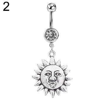 Amazon Com Belly Button Rings Gloasublim Women Vintage Sun Moon