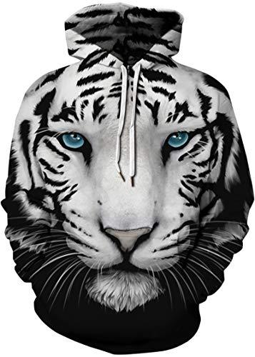 Capuche À Tout Homme Longues Imprimé Manches Motif 3d 2 Tigre Ample Bettydom Sweat Blanc Unisexe U4tIYx