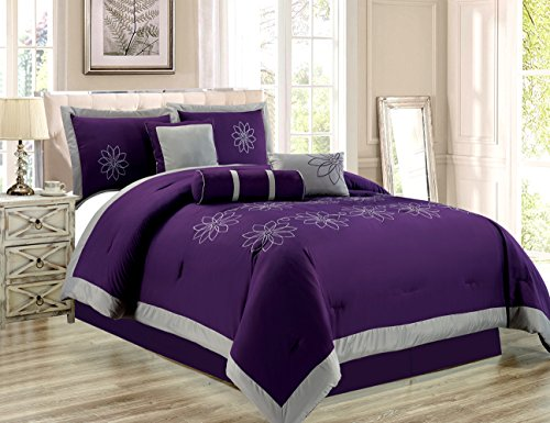 7 Piece Oversize Purple Grey Embroidered Luxury Comforter Set Queen Size Bedding 94