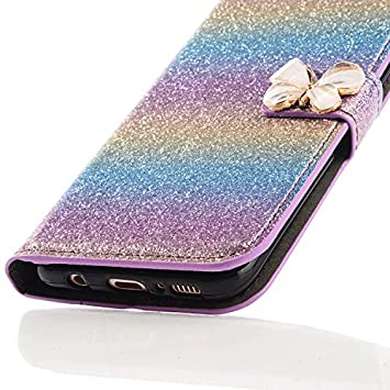 Magnetic Closure iPhone 7 Leather Case,iPhone 8 Flip Wallet Case,Case for iPhone 7 with 4.7 inch Screen,3D Funny Cute Elegant Butterfly Bling Glitter Diamond Pattern Leather Stand Function Flip Kickstand Wallet with Card Slot Holder Protective Cover Ful