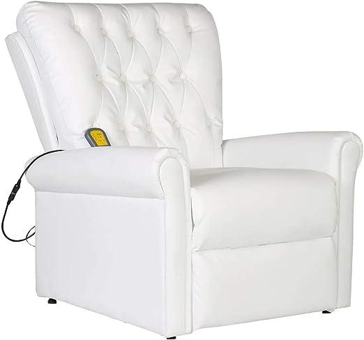 vidaXL Poltrona Massaggiante in Similpelle Nera Telecomando Sedia da Massaggio