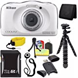 Nikon COOLPIX S33 Digital Camera (White) (International Model No Warranty) + 16GB SDHC Card + Floating Strap + Mini Flexible Tripod + Card Reader + Card Wallet + Lens Cap Keeper + Saver Bundle