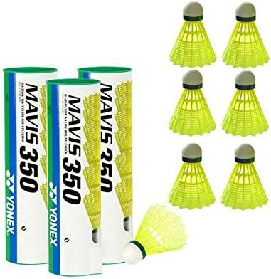 gr/ün//langsam Yonex Mavis 350 Badmintonball wei/ß 3X6=18 St/ück Nylonshuttle Farbe