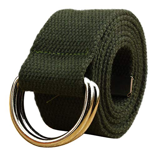 Toimothcn Simple Canvas Belt Double D-Ring Strape Belt Men Women Students Lovers Waistband(Army Green,One) ()