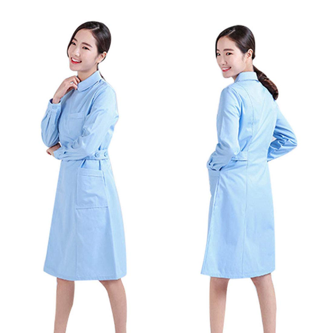 Bata de Laboratorio de Manga Larga con Cintura Ajustable para Mujer, Uniforme Médico Enfermera Ajustado, Ropa Quirúrgica Médico Laboratorio Enfermera ...
