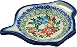 Polish Pottery 4¼-inch Tea Bag or Lemon Plate (Red Cornflower And Blue Butterflies Theme) Signature UNIKAT + Certificate of Authenticity