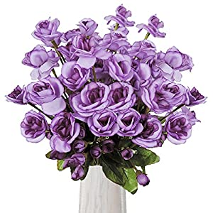Yinhua 3 Pcs Artificial Rose 11 Heads Silk Flowers Bouquet Home Office Wedding Party Garden Centerpieces Arrangements Perfect Decoration 60