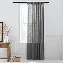Stone & Beam Textured Slub Cotton Curtain, One Panel, 52 x 84 Inch, Back Tab, Charcoal