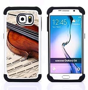 """Hypernova Híbrido Heavy Duty armadura cubierta silicona prueba golpes Funda caso resistente Para Samsung Galaxy S6 / SM-G920 [Música Violín Retro""""]"""