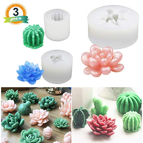 - 3 Pack Succulent Resin Molds, LET'S Resin Cactus Epoxy Resin Silicone Molds, Flower Resin Casting Molds for Handmade Candle, Resin Crafts DIY