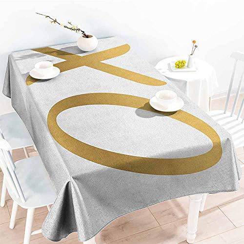 EwaskyOnline Outdoor Tablecloth Rectangular,Xo Love Affection Happy Joyful Good Friendship Romance Sign Letters Artistic Design,Dinner Picnic Table Cloth Home Decoration,W60X90L, Gold and White]()