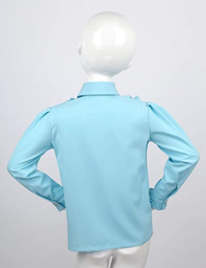 Alvivi Camisa Manga Larga Niña Cuello Volante con Corbata ...