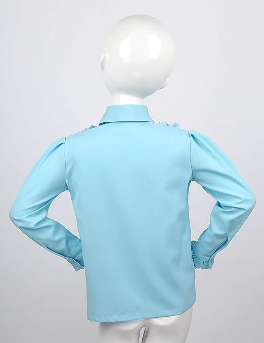 Freebily Camisa Niña Manga Larga Cuello Volante con Corbata Camisa ...
