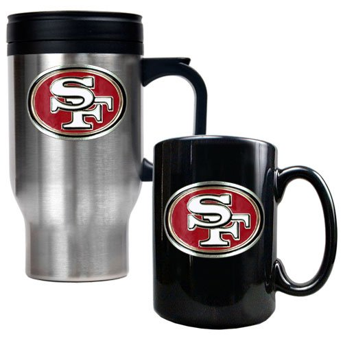 NFL San Francisco 49ers Travel Mug & Ceramic Mug Set - Primary Logo