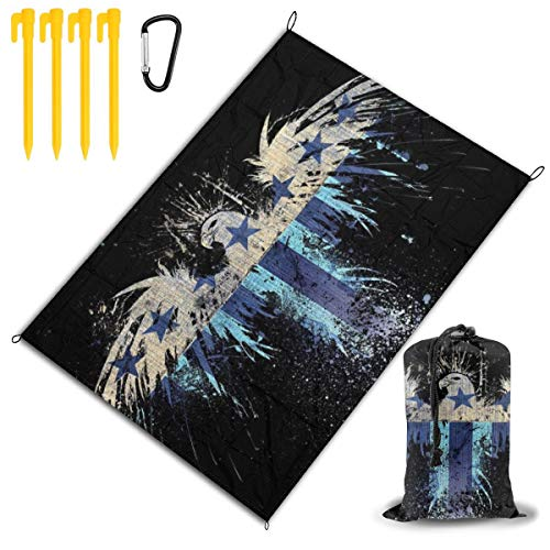 USA Flag Digital Wallpaper Eagle Symbol Beach Blanket Extra Large Picnic Mat Sand Proof and Waterproof Portable Multipurpose Beach Mat for Family Camping Hiking Travel Festivals Camping Blanket