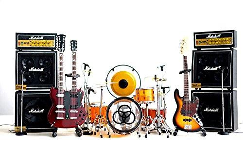 Led Zeppelin Miniature Guitar, Drums, Mics, Amps 12-pieces Set Display - Drum Set Miniature