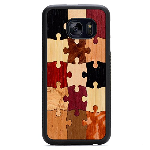 Wood Traveler Case (Carved Random Puzzle Samsung Galaxy S7 Traveler Wood Case - Black Protective Bumper with Real All Wooden)