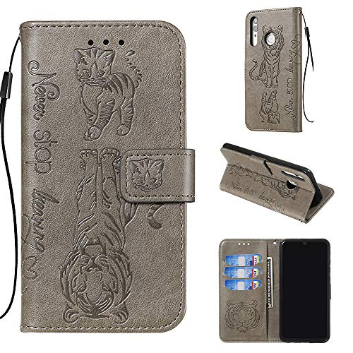 Shinyzone Leather Case for Huawei P Smart 2019/Honor 10 lite,Motivational Quote Design Wallet Case,3D Printed Embossed Tiger Cat Pattern with Lanyard Card Slots and Kickstand Anti Shock Cover,Gray