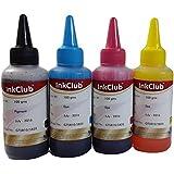 Inkclub 100g Ink Bottles for HP GT5810/GT5820 Printer (Cyan, Magenta, Yellow, Black) - Set of 4