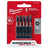 Milwaukee 48-32-4602 2-Inch Shockwave Phillips Power Bit, 5 Pack