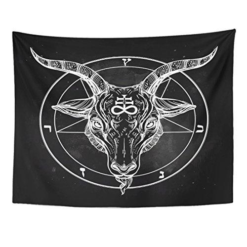 (Emvency Tapestry Pentagram with Demon Baphomet Satanic Goat Head Binary Symbol Tattoo Retro Music Summer for Biker Black Home Decor Wall Hanging for Living Room Bedroom Dorm 60x80 Inches)