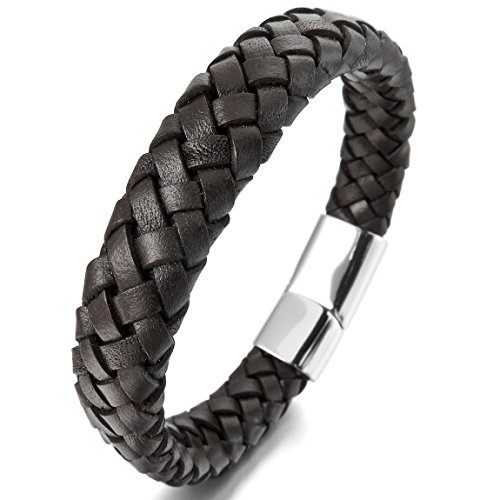 INBLUE Men's 10mm Stainless Steel Genuine Leather Bracelet Bangle Brown Silver Tone
