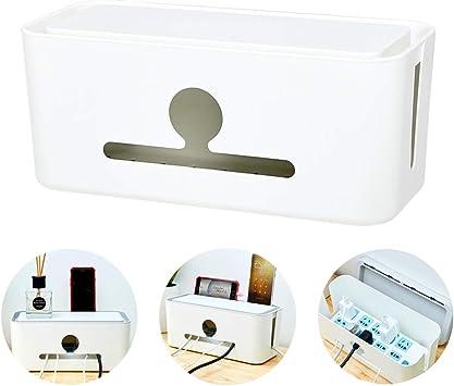Caja ordenada de cable, Caja de almacenamiento de cables Caja de almacenamiento de cables de regleta de alimentación Caja de organizador de escritorio del cargador,Blanco: Amazon.es: Bricolaje y herramientas